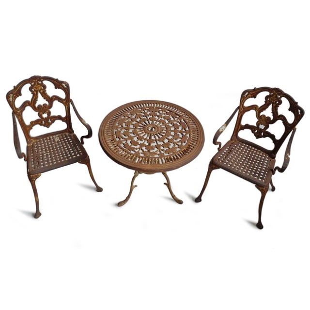 Shabby Chic Vintage Cast Iron Bistro Set of Three For Sale - Image 3 of 7