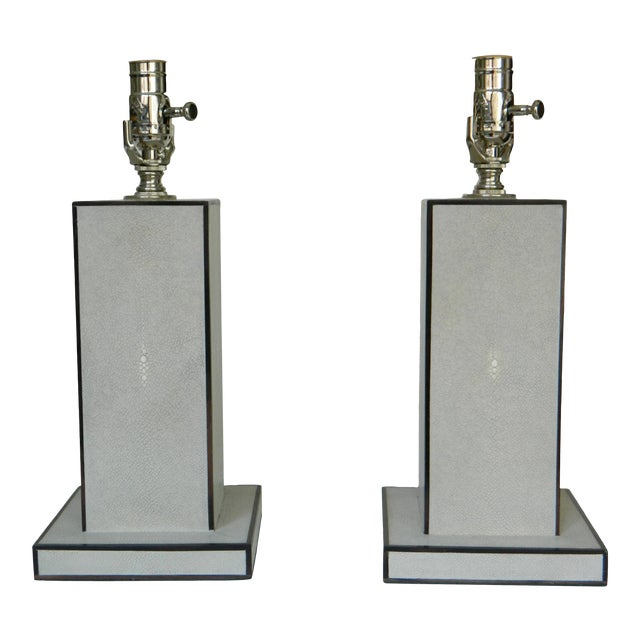 Grey Shagreen Table Lamps - a Pair For Sale