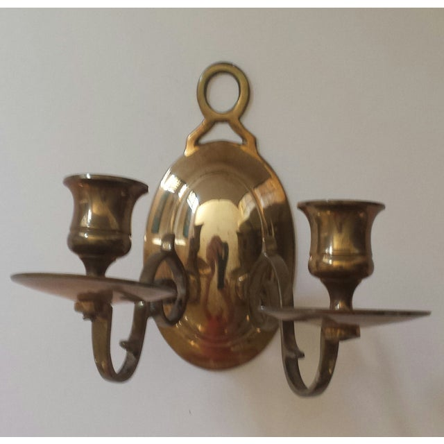 Vintage 2 Candle Brass Sconce For Sale - Image 9 of 9