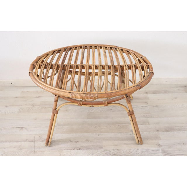1960s 20th Century Italian Bamboo and Rattan Living Room Set of 4 Pieces, 1960s For Sale - Image 5 of 13