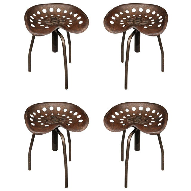 Metal Set of Four Mid-Century Industrial Swivel Chairs on Tripod Legs From Belgium For Sale - Image 7 of 7