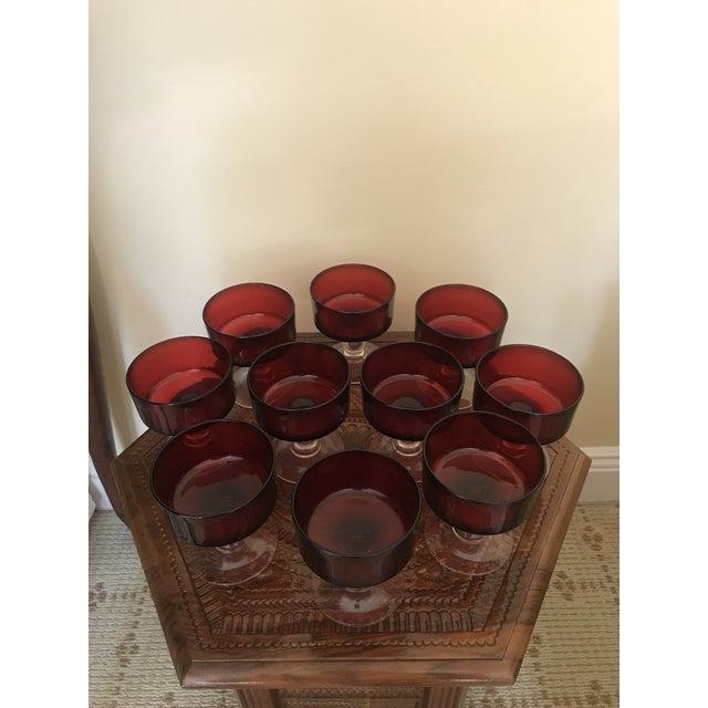 1950s Ruby Red Cocktail Glasses - Set of 10 For Sale - Image 5 of 7