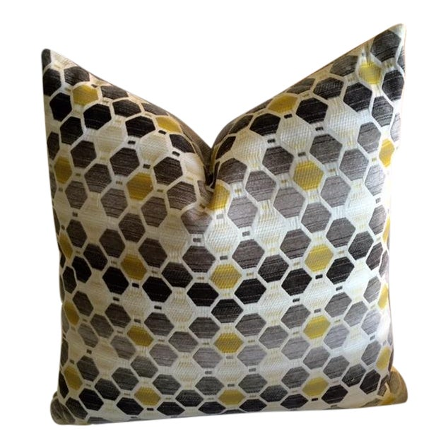 Modern Geometric Chartreuse & Gray Pillow - Image 1 of 7