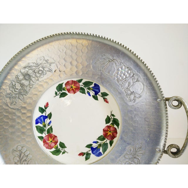 A Cromwell Hand Wrought aluminum tray with twisted handles and an inserted Shenandoah Ware plate from The Paden City...