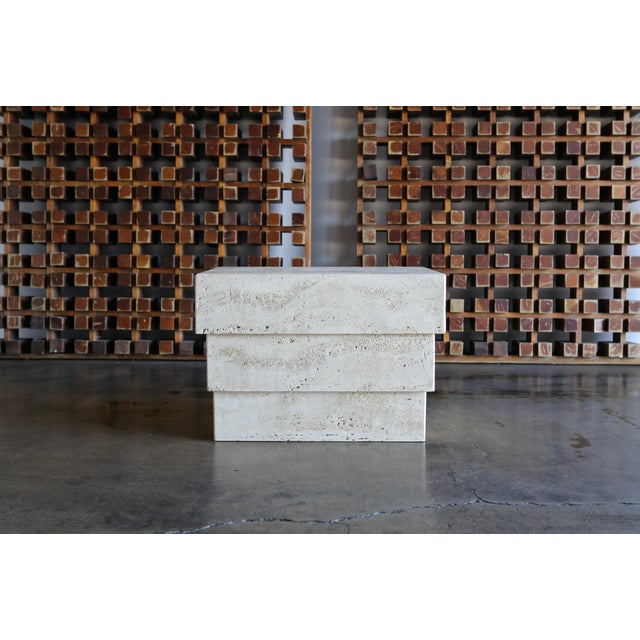 Sculptural Modernist Travertine Side Table, Circa 1980 For Sale - Image 11 of 13