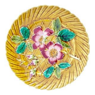 19th Century Art Nouveau De Sarreguemines Majolica Wild Rose Ceramic Plate For Sale