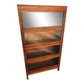 Globe Wernicke 4 Section Walnut Barrister Bookcase For Sale
