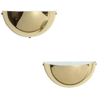 Pair of Petit Demilune Brass Sconces For Sale