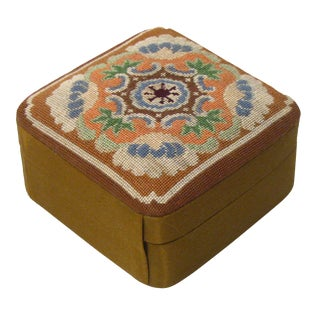 Silk Needlepoint Jewel / Trinket Box For Sale
