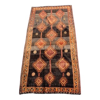 1960s Vintage Persian Gabbeh Rug - 4′10″ × 9′4″ For Sale