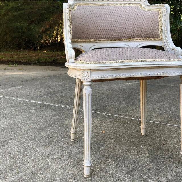 Antique White Antique French Louis XVI Painted Armchairs - a Pair For Sale - Image 8 of 10