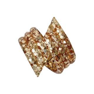 Vintage Gold Glitter Lucite Clamper For Sale