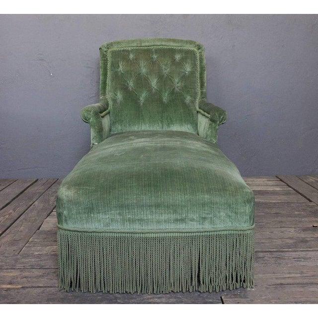 19th Century Light Green Velvet Chaise - Image 6 of 8