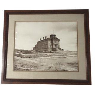 "Early 20th Century Antique Framed Enlargement of J E Stimson: ""County Court House, Rawlins, Wyoming"" Silver Gelatin Photograph For Sale"