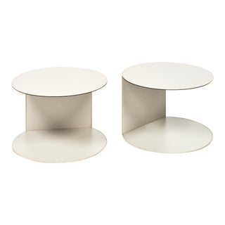 French Vintage Leather Side Tables - a pair