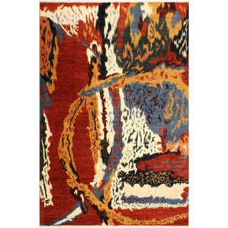 Abstract Modern Cecilia Red/Ivory Wool Rug - 8'3 X 9'7 For Sale