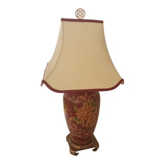 Remington Chinoiserie Red and Floral Lamp With Silk Shade For Sale