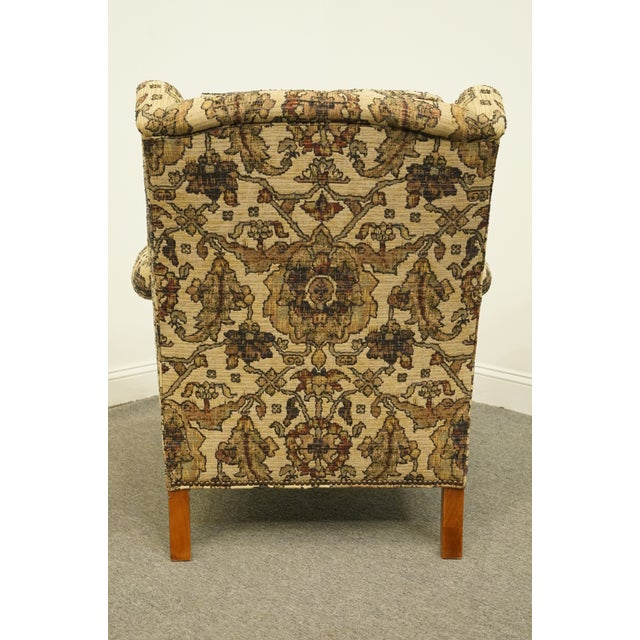 Wood Late 20th Century Stickley Furniture Floral Upholstered Wing Back Arm Chair & Ottoman For Sale - Image 7 of 13
