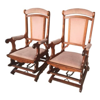 Victorian Walnut Platform Rockers Matched Pair For Sale