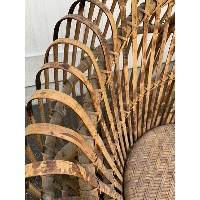 Mid 20th Century Franco Abini Style Rattan Bamboo Chair For Sale - Image 5 of 13