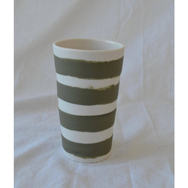 Clay Contemporary Ceramic Multi Striped Cylindrical Vessels - Group of 5 For Sale - Image 7 of 13