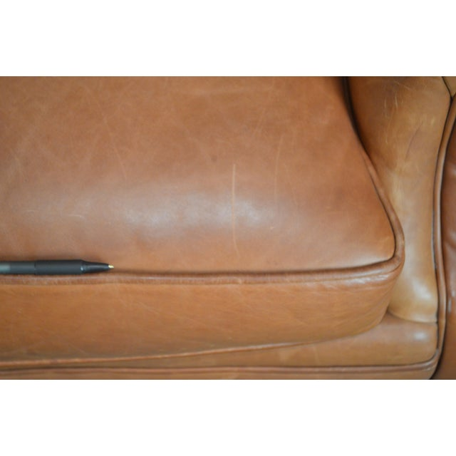 Traditional Brown Tufted Leather Writers Club Chair (A) For Sale - Image 3 of 13