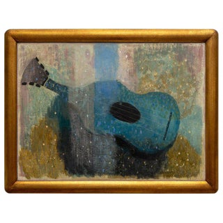 """Blue Guitar"" Gouache Painting on Paper by Wray Manning For Sale"