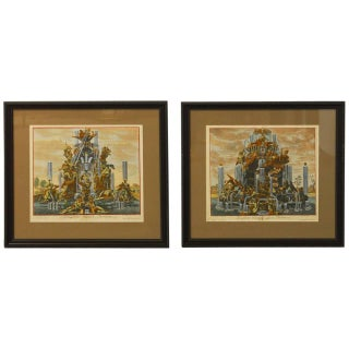 Paul Decker Fountain Scenes Etchings - A Pair For Sale