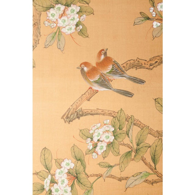 Wood Sung Tze-Chin Large Chinoiserie Hanging Screen Ink on Silk Birds and Flowers Scene 9 Feet Wide by 7 Feet Height For Sale - Image 7 of 13