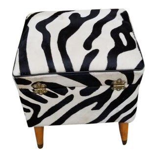 Hollywood Regency Storage Stool Newly Upholstered For Sale