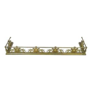 19th Century Antique French Louis XV Style Victorian Brass Rose Bird Fireplace Fender For Sale