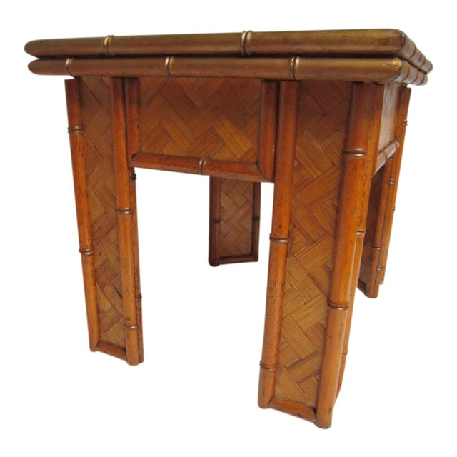 Vintage asian wicker bamboo side table chairish for Bamboo side table