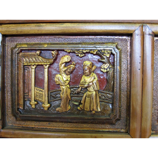 Brown Crane & Phoenix Motif Cabinet For Sale - Image 8 of 10