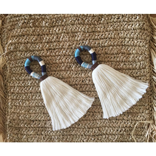 Our handmade 'hula' cotton tassel door or knob hanger in blue, brown, cream, & a little hint of gray is a quick & fun...