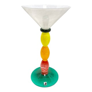 Signed Opus Hand Blown Glass Yellow, Orange, and Red Martini Glass For Sale