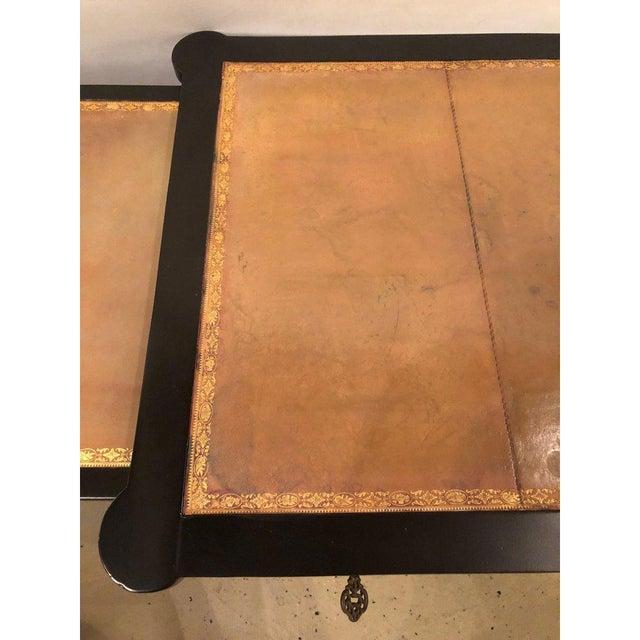 Gold Ebony Louis XVI Inspired Ebonized Leather Top Bronze-Mounted Desk For Sale - Image 8 of 10