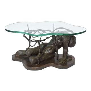 Rare and Important Phillip and Kelvin Laverne Bronze Table For Sale