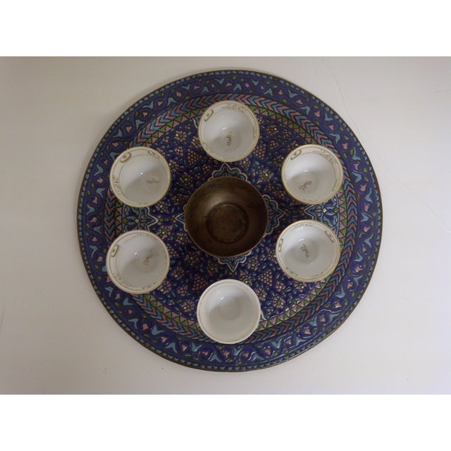Offered is a vintage Persian coffee serving set circa 1930s. The set includes 14 pieces total, including 1 serving tray, 6...