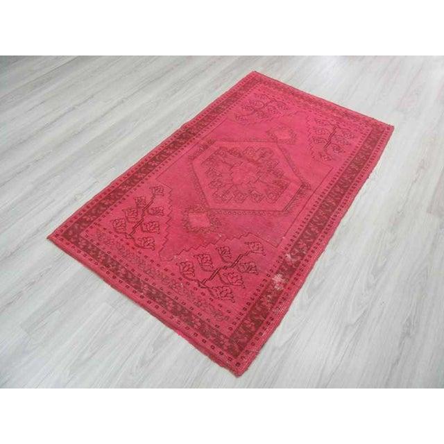 Vintage hand-knotted decorative modern fushia overdyed Turkish area rug For Sale - Image 5 of 6