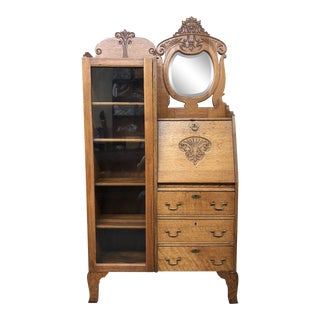 Antique M. Friedman & Co San Francisco Golden Oak Drop Front Secretary + Boockcase For Sale