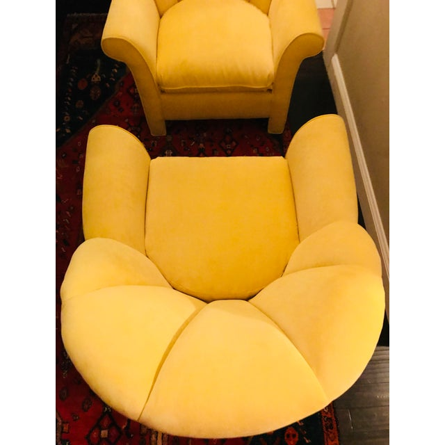 1980s American Classical Bright Yellow Velvet Vanguard Channel Back Chairs - a Pair For Sale - Image 9 of 12