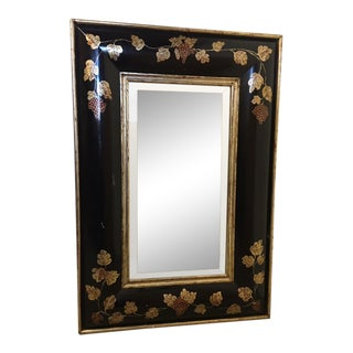 4-Foot Ebonized Convex Frame With Antiqued Mirror , Vineyard Grape Vines Motif For Sale