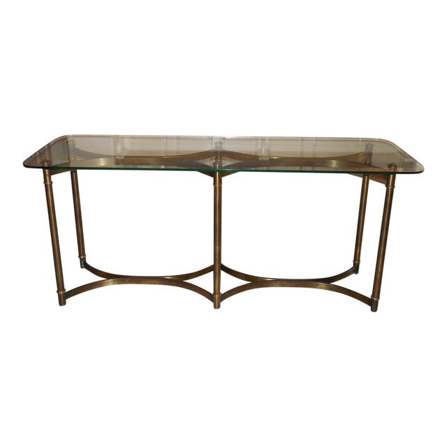 Billy Baldwin Style Patinated Brass and Glass Console C. 1970 For Sale
