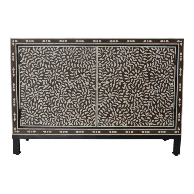 Moroccan Inspired Bone Inlay Cabinet For Sale