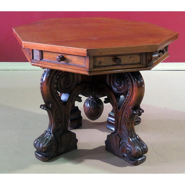 Wood Renaissance Style Center Table For Sale - Image 7 of 7