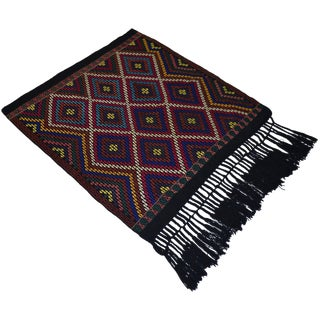 Turkish Hand Woven Kilim Rug/Braided Wall Hanging - 3′2″ X 3′5″ For Sale