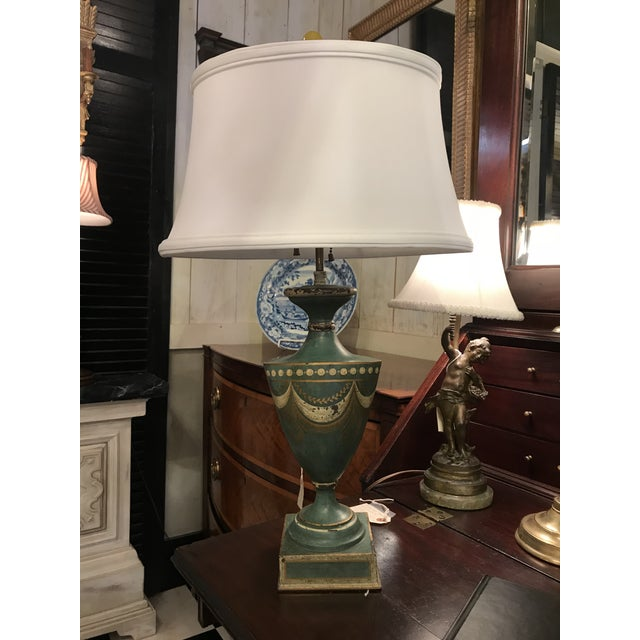 Blue Blue Tole Urn Lamp For Sale - Image 8 of 8