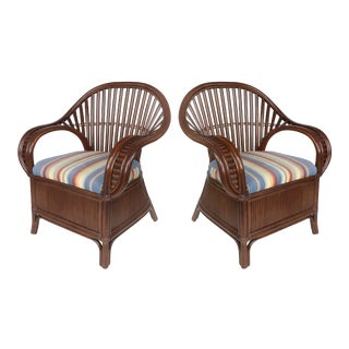 Shelby Williams Bentwood & Rattan Fan-Back Armchairs W/ Upholstered Seats-A Pair