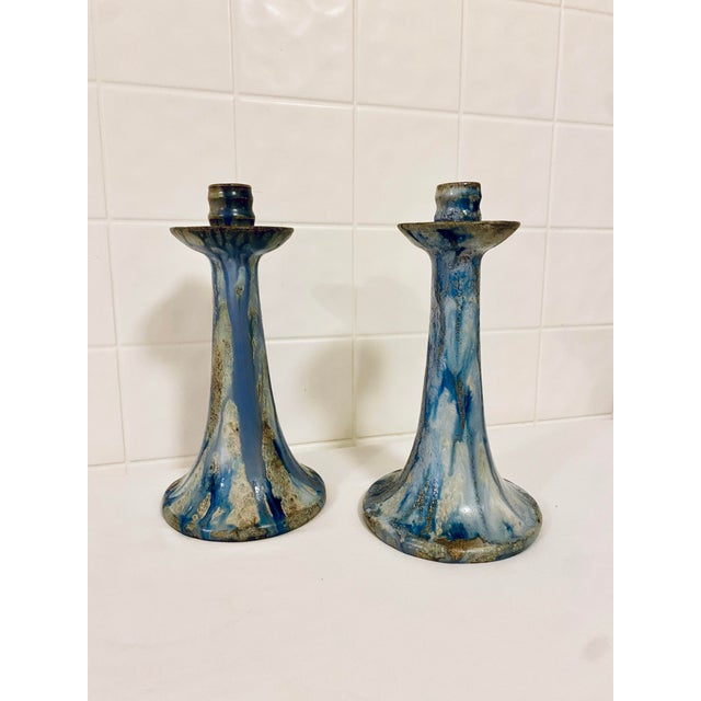 1920s Art Deco Drip Glaze Roger Guerin Candelabras - a Pair For Sale - Image 10 of 13