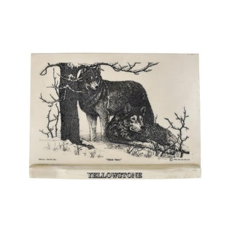 """1990s Vintage Bernie Brown Etched Marble """"Silent Stare"""" Wolves on Marble Plaque For Sale"""